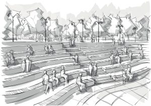 Hand drawn black and white landscape architecture
